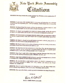 New York State Assembly Citation