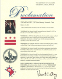 "The Mayor of District of Columbia has proclaimed March 21, 2012 as ""Shri Mataji Nirmala Devi Day"" in Washington, D.C."